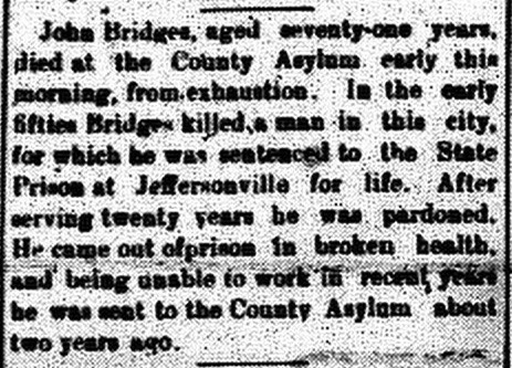 New Albany Daily Ledger,  2 May 1899, p.4, column 2, Stuart Barth Wrege Indiana History Room