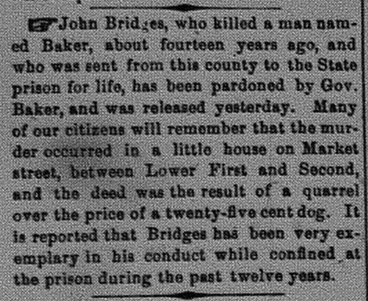 New Albany Daily Ledger, Friday, 3 February 1871, p.2, column 1, Stuart Barth Wrege Indiana History Room