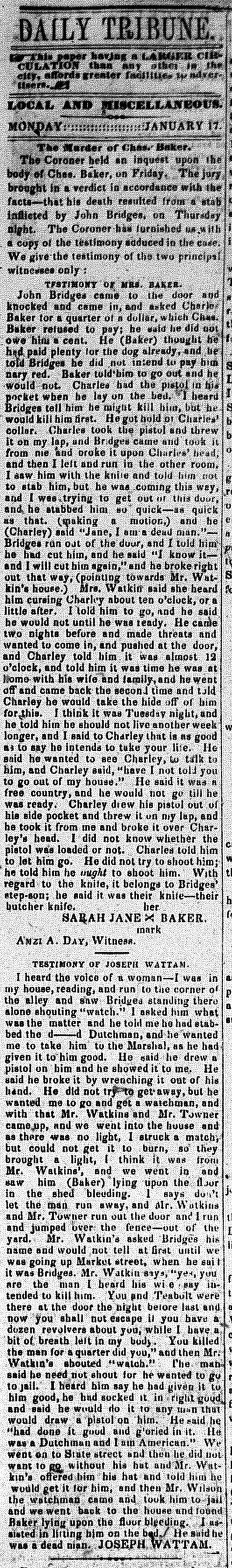 New Albany Daily Tribune, 17 Jan 1859, p.3, c.1, Stuart Barth Wrege Indiana History Room