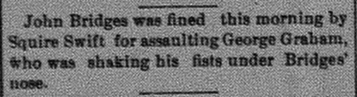 New Albany Ledger, Thursday, 20 July 1882, p.4, column 2, Stuart Barth Wrege Indiana History Room