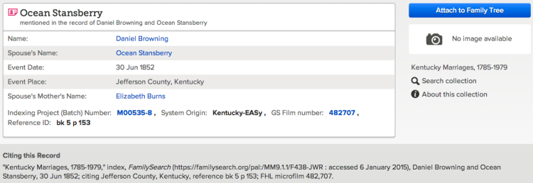 Kentucky Marriages, 1785-1979, FamilySearch.org