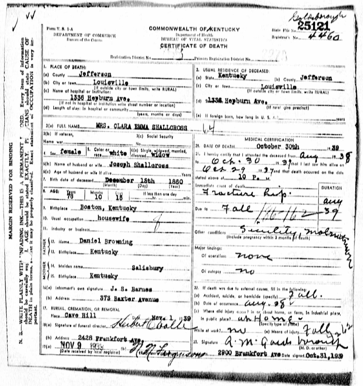 Jefferson County, Kentucky Deaths, 1911-1961, Vol. 51, certificate 25121, Ancestry.com