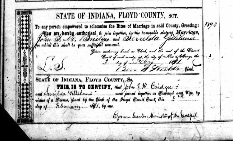 Floyd County, Indiana Marriages, Vol. 6, p.644