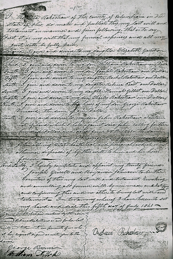 Last Will and Testament of Rebecca Rakestraw, 5 Jul 1841