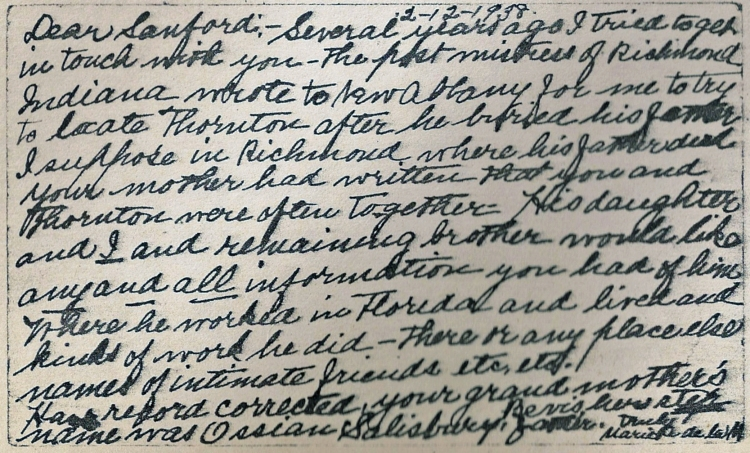 Postcard from Marie de la Montange to Sanford Wesley Wiseheart, 12 Feb 1938