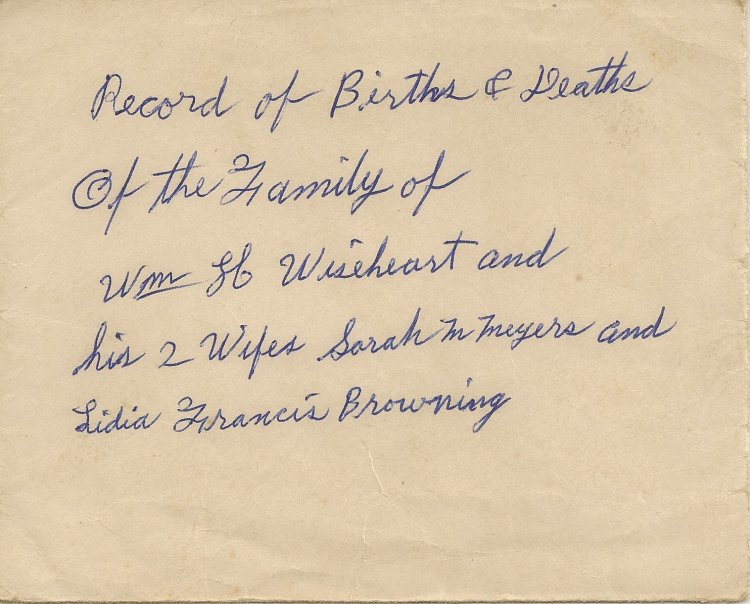 Envelope containing transcription of William H. Wiseheart Family Bible.