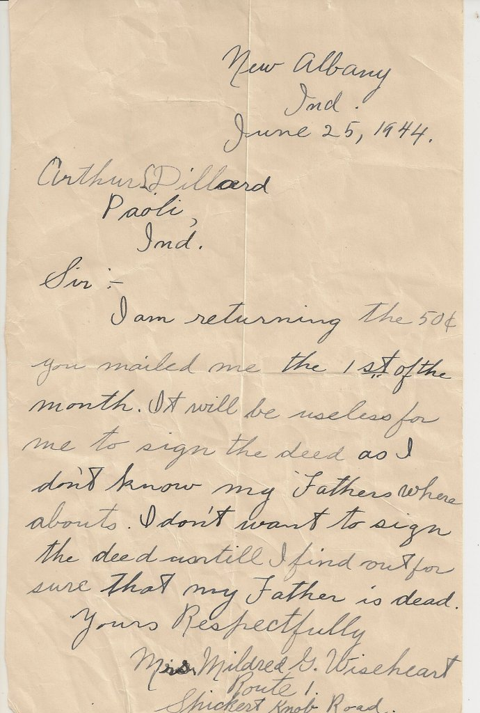 Letter, Mildred Springer to Arthur Dillard, 25 Jun 1944, p.1