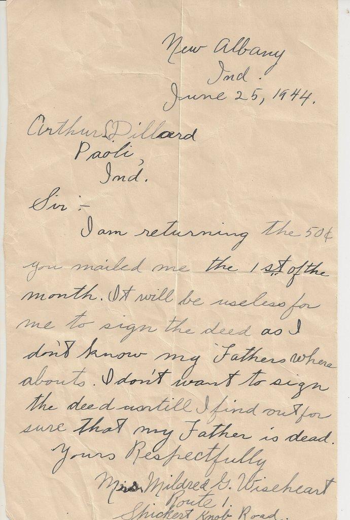 Letter, Mildred Springer to Arthur Dillard, 25 Jun 1944, p.1