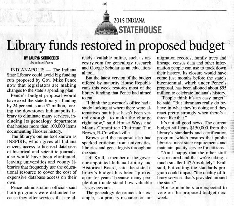 New Albany Tribune, Saturday 21 Feb 2015, p.A10, column 3