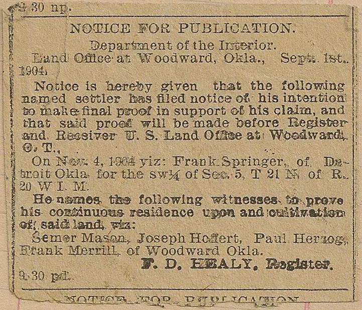 Newspaper article from Mildred Springer's ledger, 1908-1917.