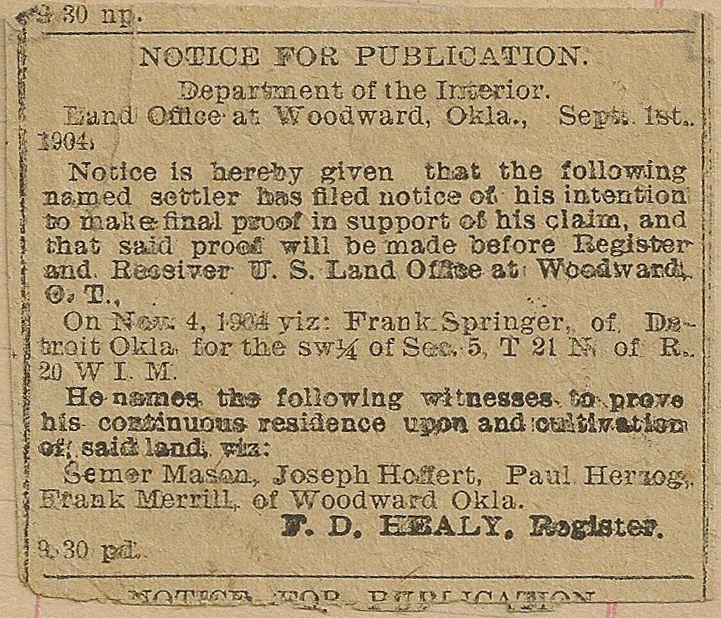 Newspaper article from Mildred Springer's ledger, 1908-1917.