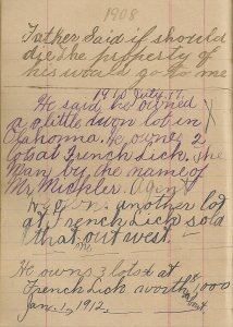 A page from Mildred Springer's ledger, 1908-1917.