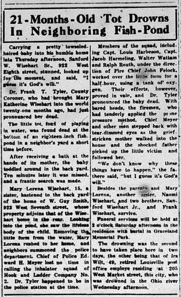 New Albany Tribune, Friday 10 July 1936, p.1, column 2, Stuart Barth Wrege Indiana History Room