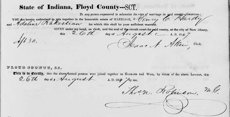 Floyd County, Indiana Marriages, Vol. 3, p.101, Stuart Barth Wrege Indiana History Room