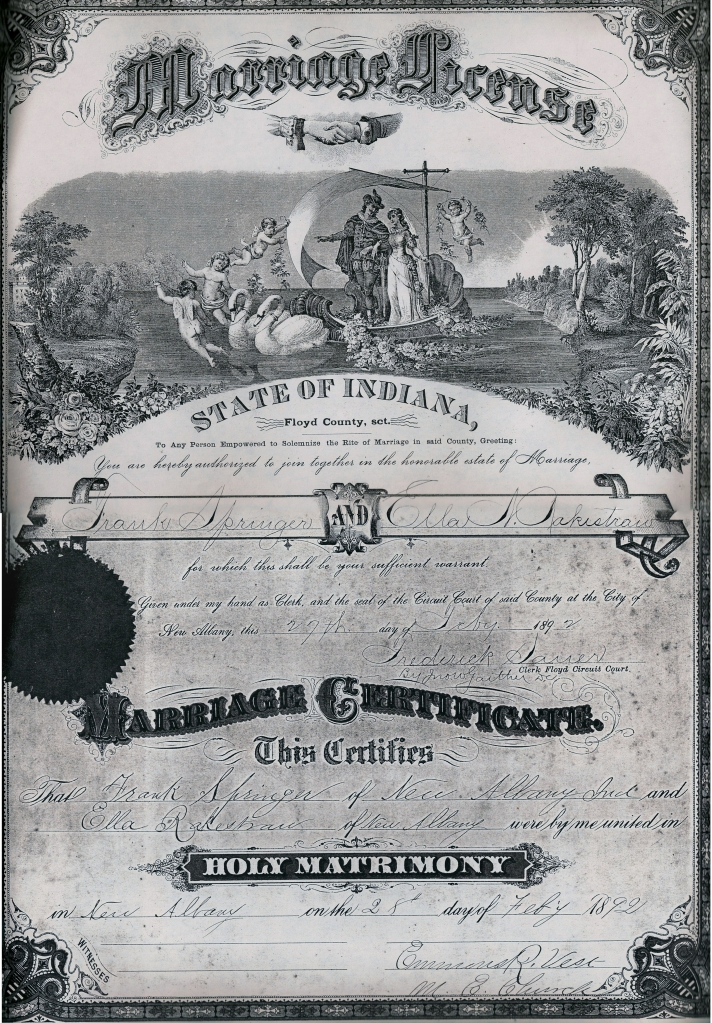 Frank Springer and Ella Rakestraw Marriage License