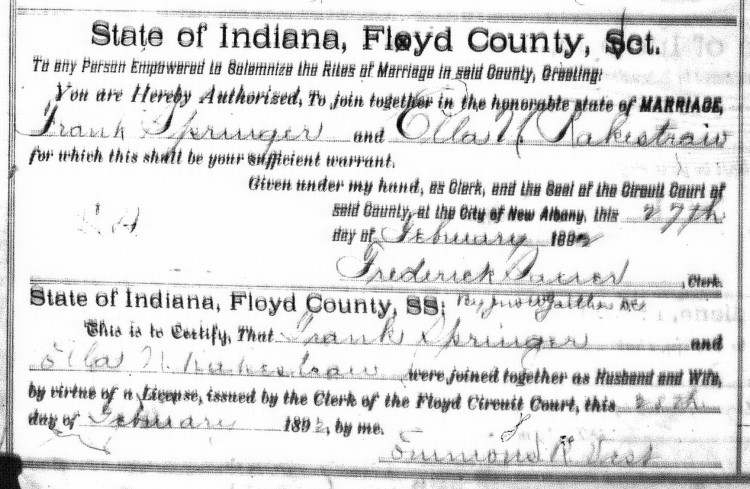 Floyd County, Indiana Marriages, Volume 10, p.114, Stuart Barth Wrege Indiana History Room