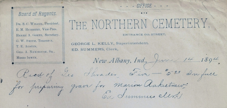 Receipt from The Northern Cemetery (Fairview Cemetery) for payment on grave preparations.