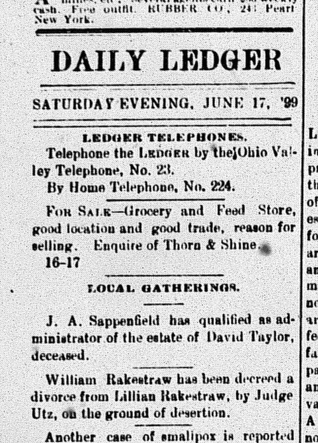 New Albany Daily Ledger, Saturday, 17 June 1899, p. 4, column 1, Stuart Barth Wrege Indiana History Room