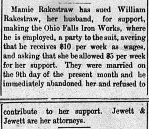 New Albany Daily Ledger, Saturday, 24 October 1891, p. 8, columns 2-3, Stuart Barth Wrege Indiana History Room
