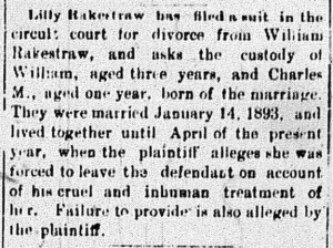 New Albany Daily Ledger, Wednesday, 1 December 1897, p. 4, column 4, Stuart Barth Wrege Indiana History Room