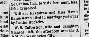 New Albany Evening Tribune, Tuesday, 3 February 1891, p. 4, column 3, Stuart Barth Wrege Indiana History Room