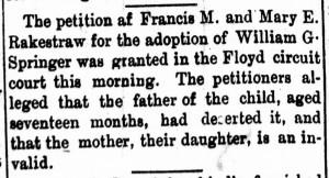 New Albany Daily Ledger, Friday, 26 May 1894, p.5, column 3, Stuart Barth Wrege Indiana History Room