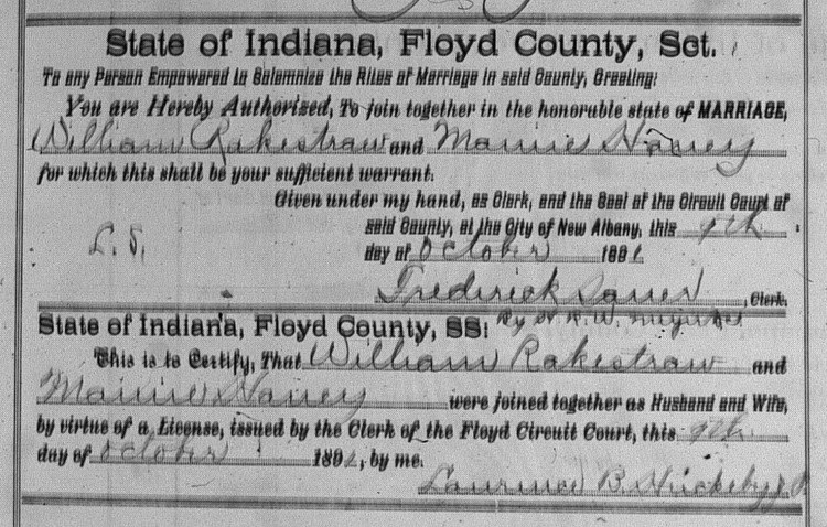 Floyd County, Indiana Marriages, Vol. 10, p. 55, Stuart Barth Wrege Indiana History Room