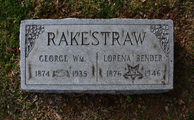Tombstone, Cave Hill Cemetery, Louisville, Jefferson, Kentucky, George William Rakestraw, 1874-1935, photo courtesy of Rob M, Findagrave.com