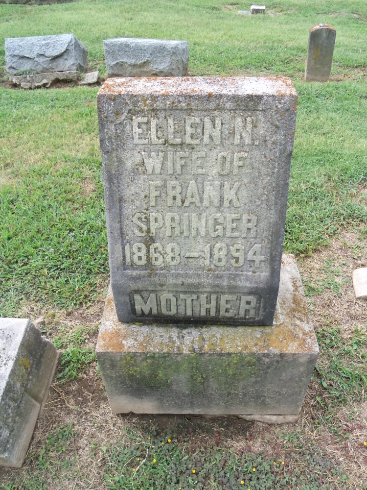Tombstone of Ella Springer, Fairview Cemetery, photo courtesy of Douser, Findagrave.com