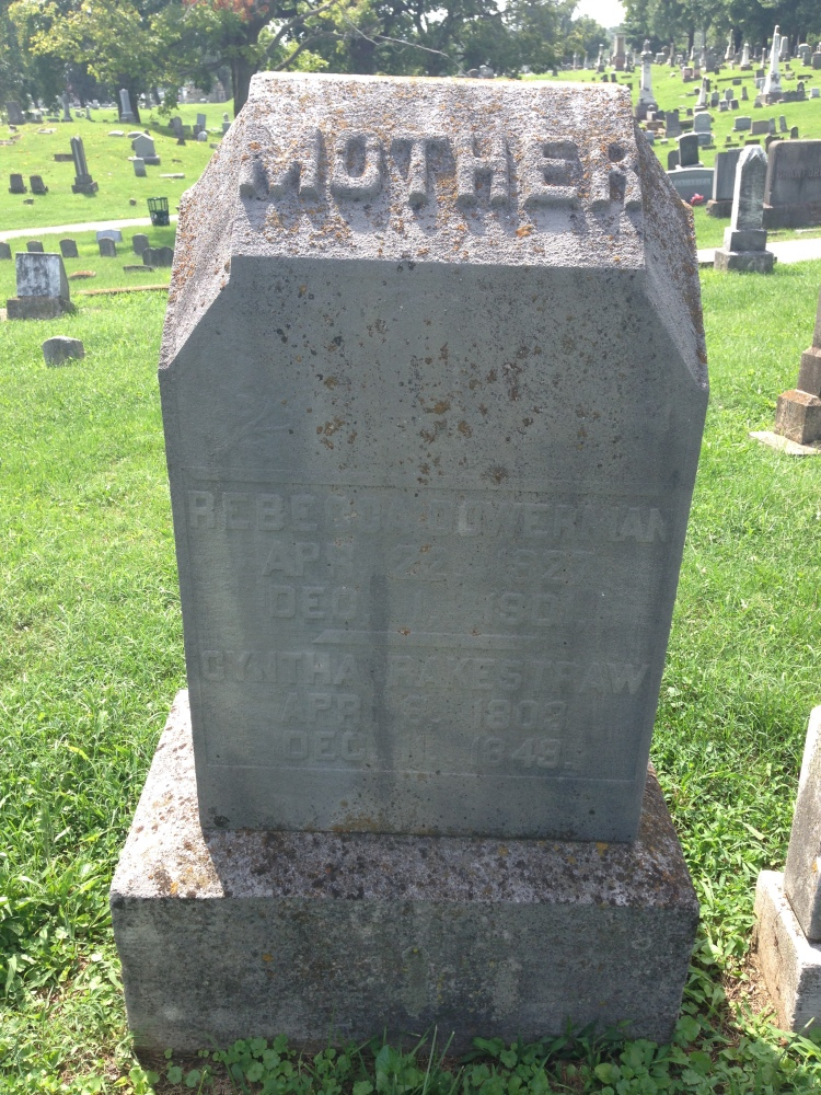 Tombstone, Rebecca Dowerman and Cyntha Rakestraw, Fairview Cemetery, photo taken by Melissa Wiseheart, 1 September 2014