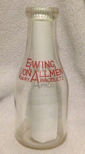 Ewing-Von Allmen Dairy Products Bottle, in my possession.
