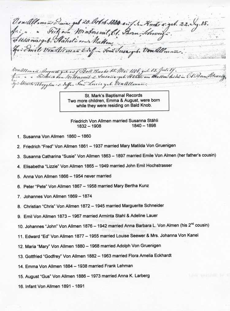St. Mark's Baptismal Records, courtesy of Shirley Wolf, Von Allmen Family File, Stuart Barth Wrege Indiana History Room