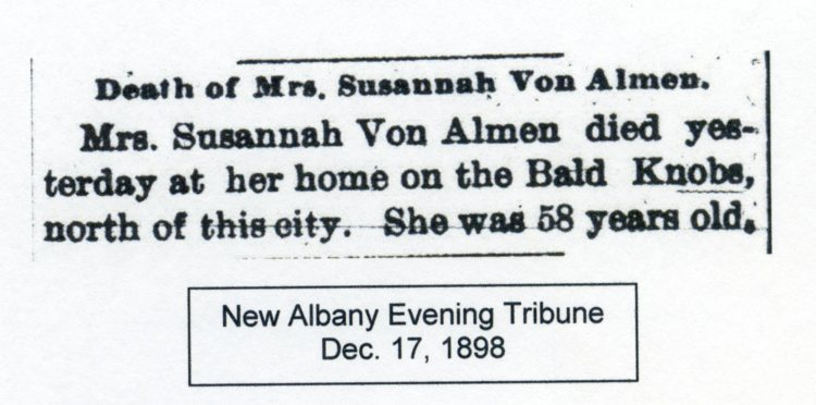 New Albany Evening Tribune, 17 December 1898, courtesy of Shirley Wolf, Von Allmen Family File, Stuart Barth Wrege Indiana History Room