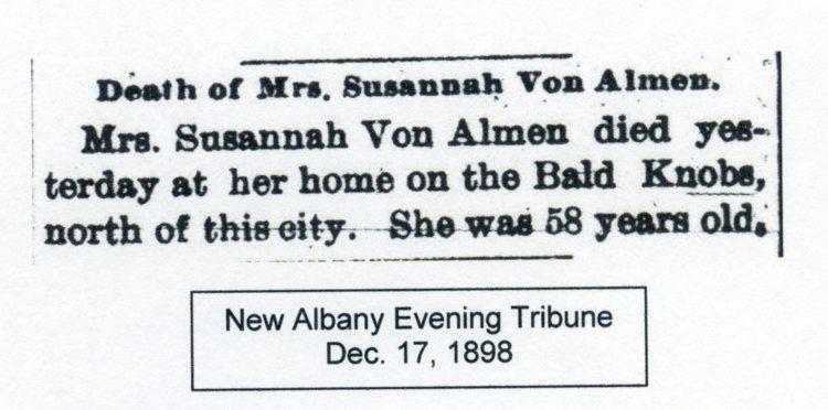 New Albany Evening Tribune, 17 December 1898, courtesy of Shirley Wolf, Von Allmen Family File, Stuart Barth Wrege Indiana History Room