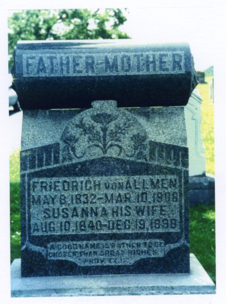 Tombstone of Friedrich and Susanna Von Allmen at Atkins Cemetery, courtesy of Shirley Wolf, Von Allmen Family File, Stuart Barth Wrege Indiana History Room