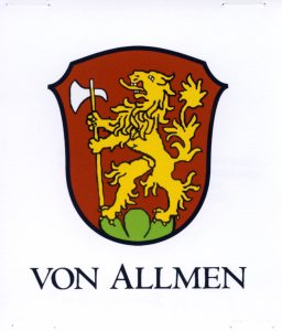 Von Allmen Family Crest, courtesy of Shirley Wolf, Von Allmen Family File, Stuart Barth Wrege Indiana History Room