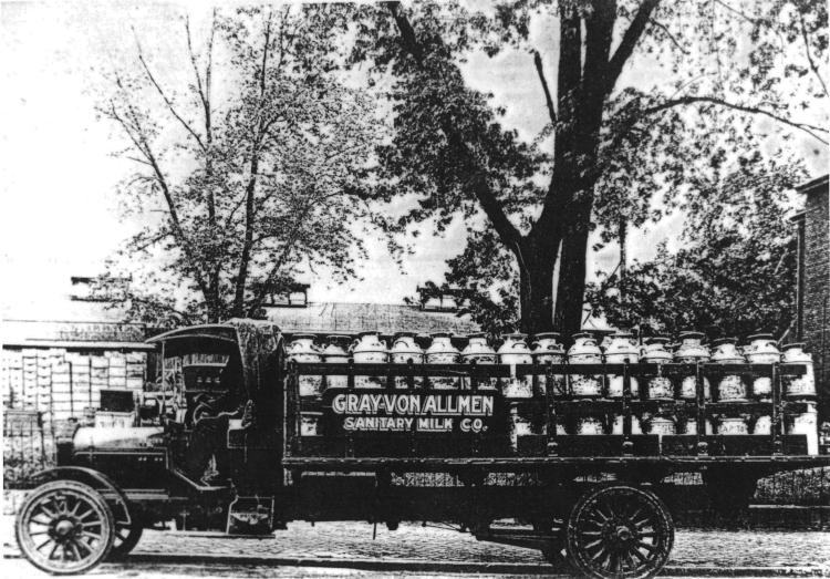Gray-Von Allmen Sanitary Milk Company Truck, courtesy of Shirley Wolf, Von Allmen Family File, Stuart Barth Wrege Indiana History Room