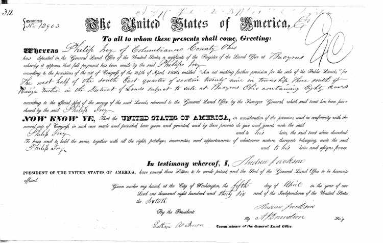 U.S. General Land Office Records, 1796-1907, deed for land in Bucyrus, Crawford, Ohio, Ancestry.com