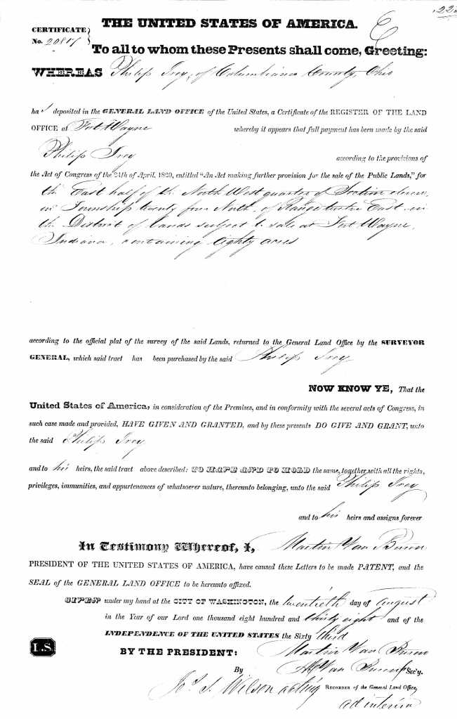 U.S. General Land Office Records, 1796-1907, deed for land in Fort Wayne, Allen, Indiana, Ancestry.com