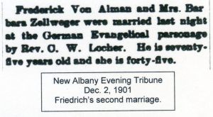 Marriage Announcement, courtesy of Shirley Wolfe, Von Allmen Family File, Stuart Barth Wrege Indiana History Room