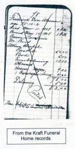 Kraft Funeral Home Record, courtesy of Shirley Wolfe, Von Allmen Family File, Stuart Barth Wrege Indiana History Room