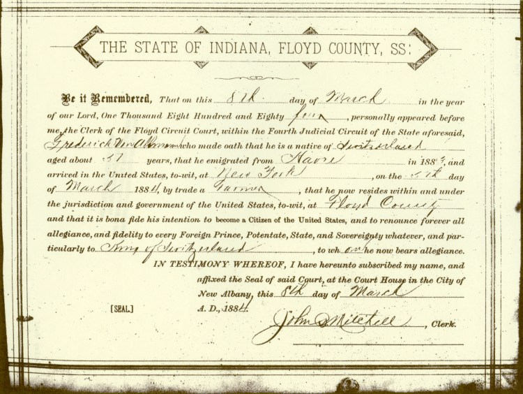 Oath of Allegiance, courtesy of Shirley Wolfe, Von Allmen Family File, Stuart Barth Wrege Indiana History Room