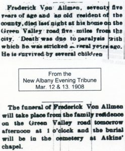 Obituaries, courtesy of Shirley Wolfe, Von Allmen Family File, Stuart Barth Wrege Indiana History Room