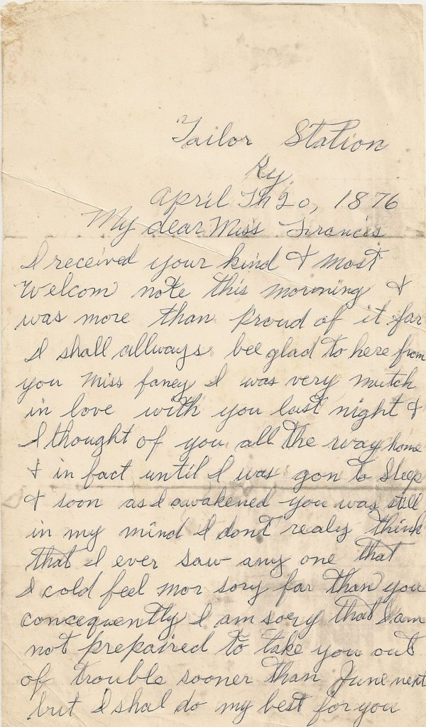 Letter, William H. Wiseheart to Frances Browning, 20 Apr 1876, p. 1