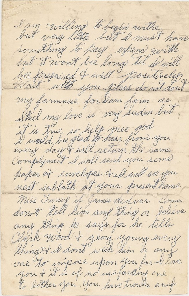 Letter, William H. Wiseheart to Frances Browning, 20 Apr 1876, p. 2