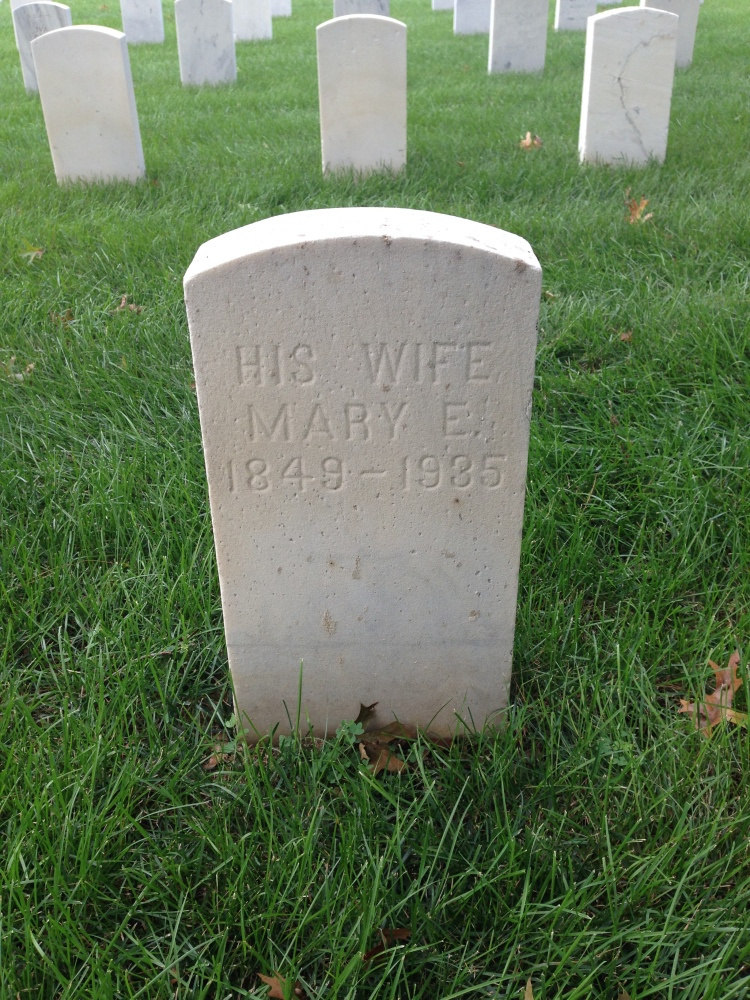 Inscription on the reverse side of Francis Rakestraw's tombstone at New Albany National Cemetery.