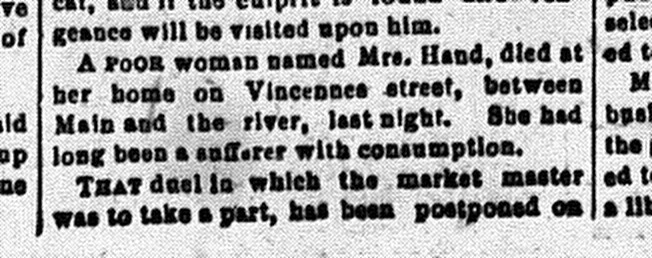 Susan Hand, Obituary, New Albany Ledger Standard, Friday, 28 February 1879, p. 3, column 4, Stuart Barth Wrege Indiana History Room