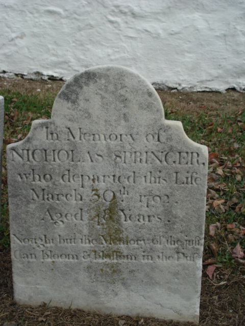 Tombstone of Nicholas Springer, FindAGrave.com, courtesy of Richard Morrison, 16 November 2007.