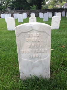 Tombstone of Corporal William Henry Wiseheart, New Albany National Cemetery.  Photograph taken by Melissa Wiseheart, 1 September 2014.