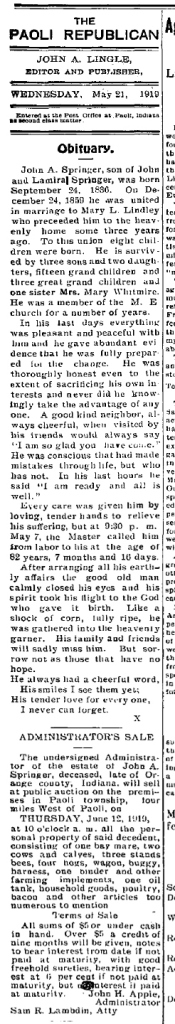 Obituary for John A. Springer, The Paoli Republican,  Wednesday, 21 May 1919, p. 4, column 1.  NewspaperArchive.com